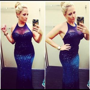 Sexy ombré blue tone sequin gown